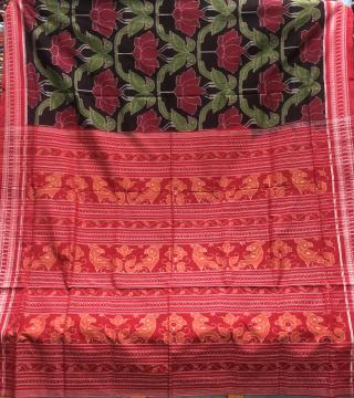 Exclusively woven Parrot and lotus motifs cotton Ikat Saree with Blouse Piece