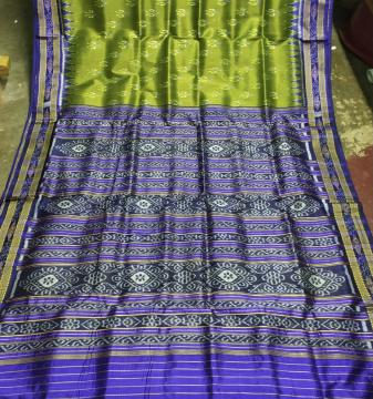 Traditional All over Ikat motifs Khandua Silk Saree without blouse piece