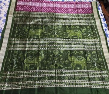 Elephant motifs Aanchal tribal motifs Pasapalli Silk Saree with Blouse Piece