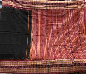 Fish motifs thick border with traditional Aanchal Cotton Ikat Saree with Blouse Piece