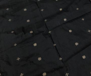 Golden buti  black color Silk fabric