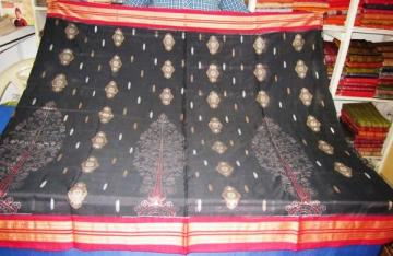 Traditional Ikat Body and bomkai aanchal Saree Sari