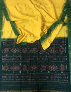 Simple and elegant Nuapatana Cotton Ikat Saree without Blouse Piece