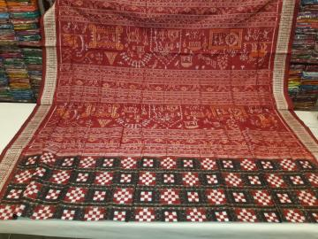 Tribal theme Aanchal Double Ikat Pasapalli Silk Saree with blouse piece