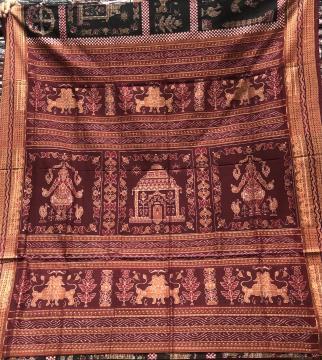 Konark temple theme Cotton Ikat Saree with Blouse Piece