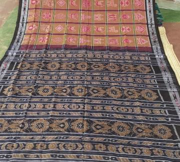 Brown and Black Cotton Nabakothi Saree without Blouse Piece