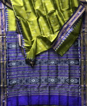 All over Ikat weave Traditional Khandua Silk Saree without Blouse Piece