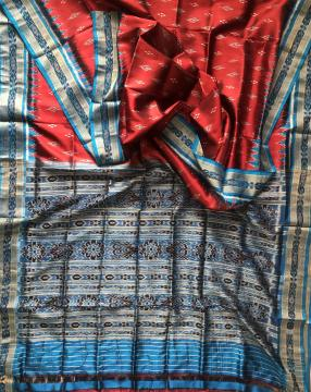 All over Ikat work Maroon Khandua Silk Saree without Blouse Piece