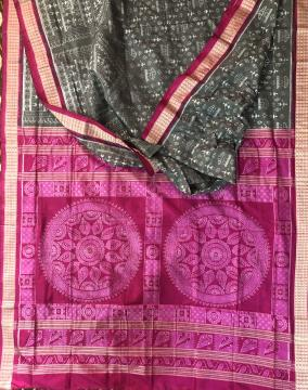 Exquisite conch motifs Jhoti Aanchal with Tribal theme body Ikat Silk Saree with Blouse Piece