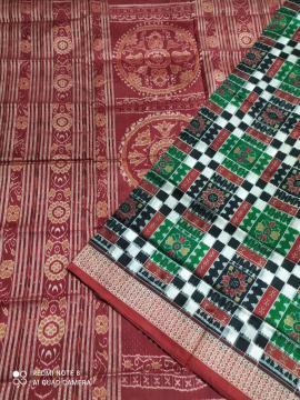 Double Ikat Utkallaxmi Silk Saree with Blouse Piece