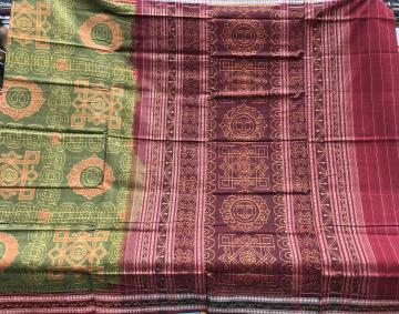 Exclusively woven Laxmi Pada Theme Cotton Ikat Saree with Blouse Piece