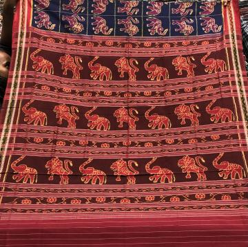 Exclusively woven lion elephant and worship women motifs Cotton Ikat Saree without Blouse Piece