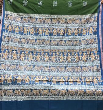 Intricately woven Pattachitra figures inspired Cotton Bomkai Saree with Blouse Piece