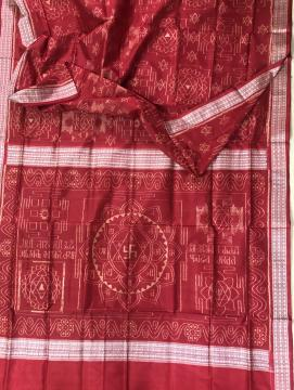 Exclusively woven Laxmi Yantra theme Ikat Silk Saree with Blouse Piece