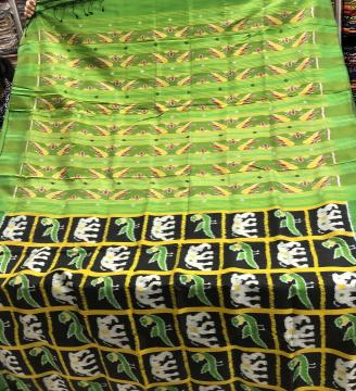 Exclusively woven Elephant and Parrot motifs Nabakothi Ikat Silk Saree with Blouse Piece