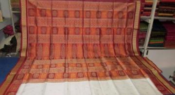 Orissa Handloom Flower motif border Bomkai Saree Sari