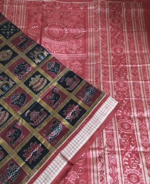 Intricately woven Ikat Nabakothi Silk Saree with Blouse Piece