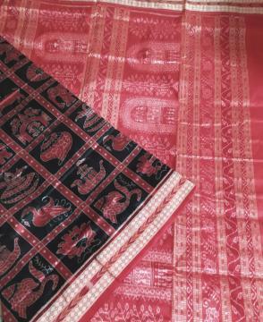 Sonpur Nabakothi Ikat Silk Saree with blouse Piece