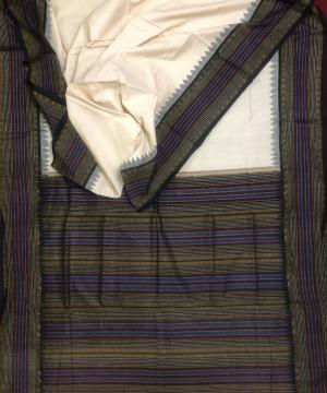 Stripes border and Aanchal Cotton Sambalpuri Saree with Blouse Piece