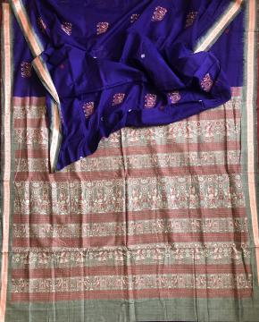 Fish motifs Border with Pattachitra figures Inspired Bomkai Cotton Saree with Blouse Piece