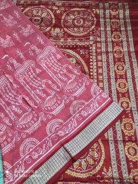 Beautiful Boita theme Body with Jhoti Aanchal Ikat Silk Saree with Blouse Piece