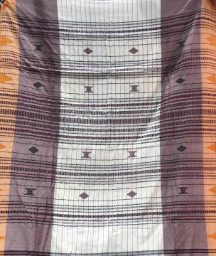 Natural dyed body stripes Cotton Kotpad saree with Blouse Piece