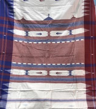 Ganga Jamuna Border Fish motifs Natural dyed Cotton Kotpad Saree with Blouse Piece