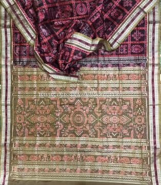 Intricate woven Sonpur Nabakothi Ikat Silk Saree with Blouse Piece