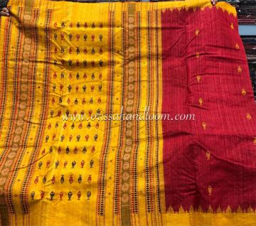 Exclusively woven Kotpad motifs inspired Ghicha Tussar Silk Saree with blouse Piece