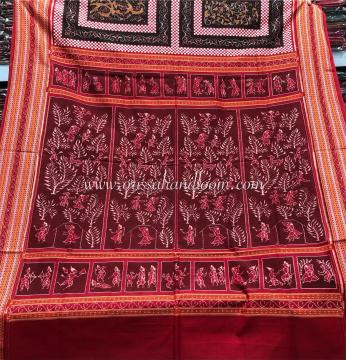Ramayana theme in tribal form on Aanchal All over Ikat Cotton Saree with Blouse Piece
