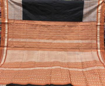 Simple and elegant small checks border and Aanchal Ikat Silk Saree with Blouse Piece