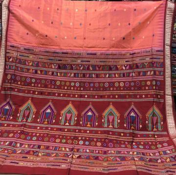 Beautiful peach color Dolabedi Silk Saree with blouse Piece