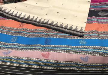 Fish and bird motifs Aanchal with Phoda kumbha border Berhampuri Silk Saree with Blouse Piece