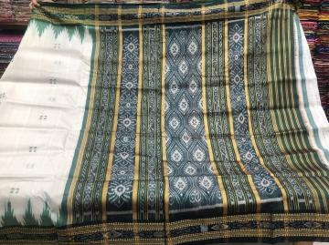 White Green Traditional Ikat work Khandua Silk Saree without Blouse Piece