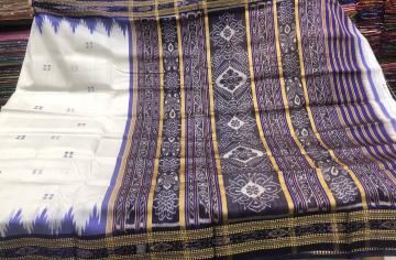 Traditional Ikat weave White Khandu silk saree with Blouse Piece