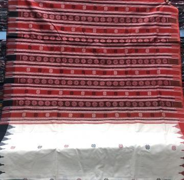 Ganga Jamuna Border Flower motifs Thick Cotton Samabalpuri Saree with blouse Piece