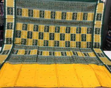 Yellow and green combination Doll border and Aanchal Bomkai Silk Saree with Blouse Piece