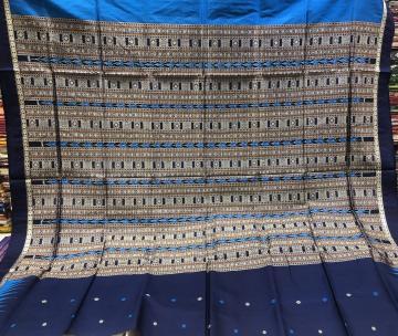 Bomkai and Ikat work Silk Saree with Blouse Piece