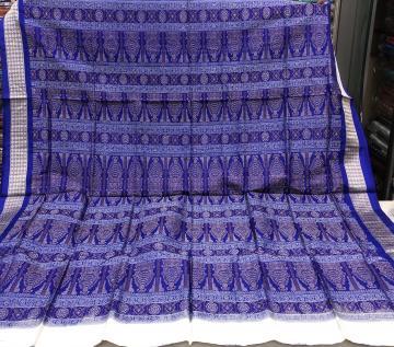 Traditional Bomkai Silk Saree in White with Blouse Piece
