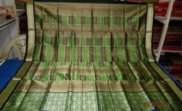 Orissa Handloom Rich Bomkai work on Body and anchal Saree Sari in Green-Black