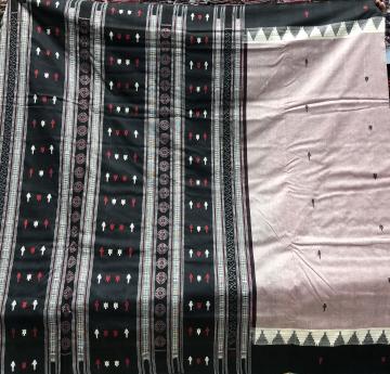 Fish n turtle Kotpad motifs inspired thick cotton Sambalpuri Saree with Blouse Piece