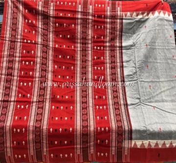 Grey and Rust Kotpad motifs inspired Sambalpuri thick cotton Saree with Blouse Piece