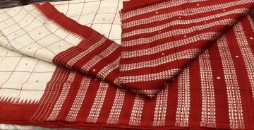 Exclusively woven body checks Berhampuri Silk Saree with Blouse Piece