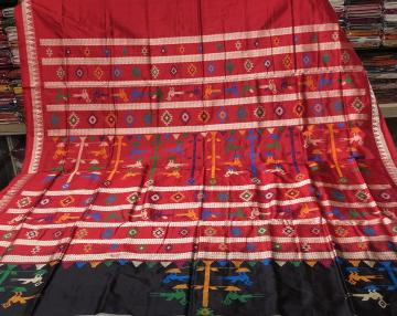 Black and Red combination beautiful bird motifs Bomkai Silk Saree with Blouse Piece