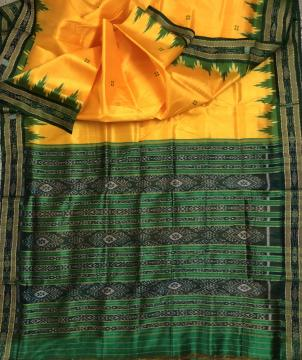 Yellow and green combination Traditional Khandua Silk Saree without Blouse Piece