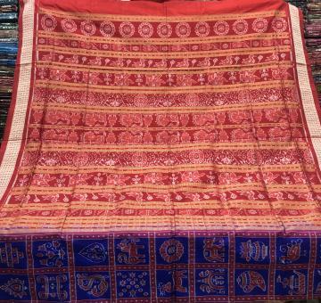 Intricately woven traditional motifs Sambalpuri Nabakothi Silk Saree with Blouse Piece