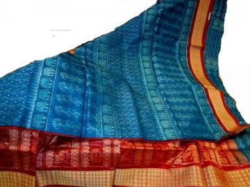 Odisha Handloom Traditional Animal Motif Ikat Saree Sari in Blue -Maroon