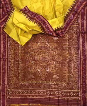 Pasapalli border Jhoti Aanchal traditional Khandua Silk Saree without Blouse Piece