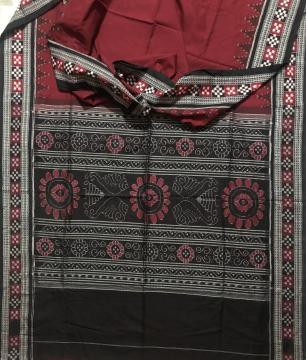 Pasapalli Border Sambalpuri Ikat Cotton Saree without Blouse Piece