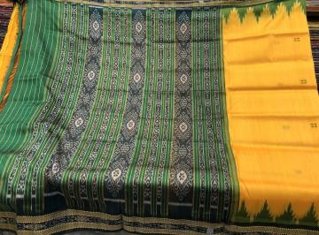 Yellow Green traditional Khandua Silk Saree without Blouse piece